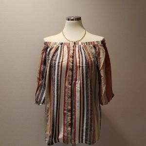 Women's Stripped Multi-Color Off The Shoulder Top